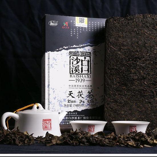 湖南安化黑茶 白沙溪金花茯砖茯 1kg礼盒装380元